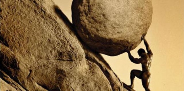 dc/tn and sisyphus rolling a boulder